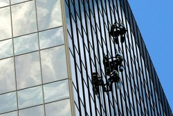 Window cleaning in downtown
