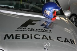 Formula 1 medical car with the helmet of Bernd Maylander