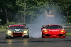 #007 Aston Martin Racing Aston Martin DB9: Tomas Enge, Darren Turner, #62 Risi Competizione Ferrari 430 GT Berlinetta: Marc Gene, Mario Dominguez