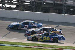 Three wide racing with Jeff Green, Michael Waltrip and Kurt Busch