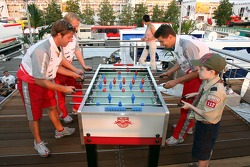 Red Bull chilled Thursday: visitors on the deck of the Red Bull Energy Station playing tabletop soccer