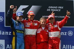 Podium: race winner Michael Schumacher with Fernando Alonso, Felipe Massa and Jean Todt