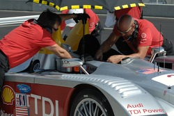 #2 Audi Sport North America Audi R10 TDI being prepared for qualifying