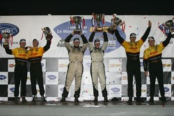 LMP2 podium: class winners Clint Field and Liz Halliday, with second place Sascha Maassen and Lucas Luhr, and third place Timo Bernhard and Romain Dumas