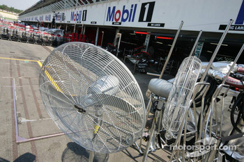 Cooling fans in the pitlane