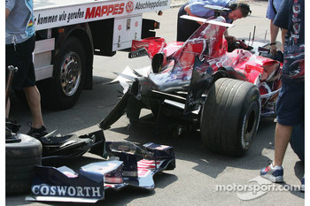 Wrecked car of Scott Speed