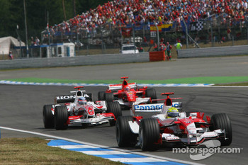 Ralf Schumacher, Takuma Sato and Michael Schumacher