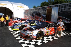 Chevy Cup cars on display