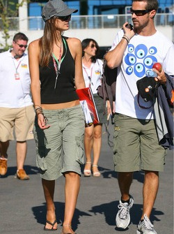 Tiago Monteiro with his girlfriend