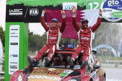 WRC2 winners Nasser Al-Attiyah and Matthieu Baumel, Ford Fiesta R5