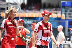 Sebastian Vettel, Ferrari with Britta Roeske, Red Bull Racing Press Officer