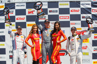 GT Cup podium: Second place Sloan Urry, Race winner Colin Thompson and third placed Lorenzo Trefethen