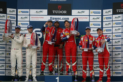 GTE Pro podium: winners Gianmaria Bruni, Toni Vilander, second place Richard Lietz, Michael Christensen, third place Davide Rigon, James Calado