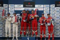 GTE Pro podium: winners Gianmaria Bruni, Toni Vilander, second place Richard Lietz, Michael Christensen, third place Davide Rigon, James Calado