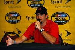Elliott Sadler addresses the media during the NASCAR wake up call