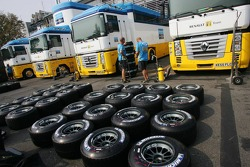 Renault F1 Team prepare their tyres for the weekend