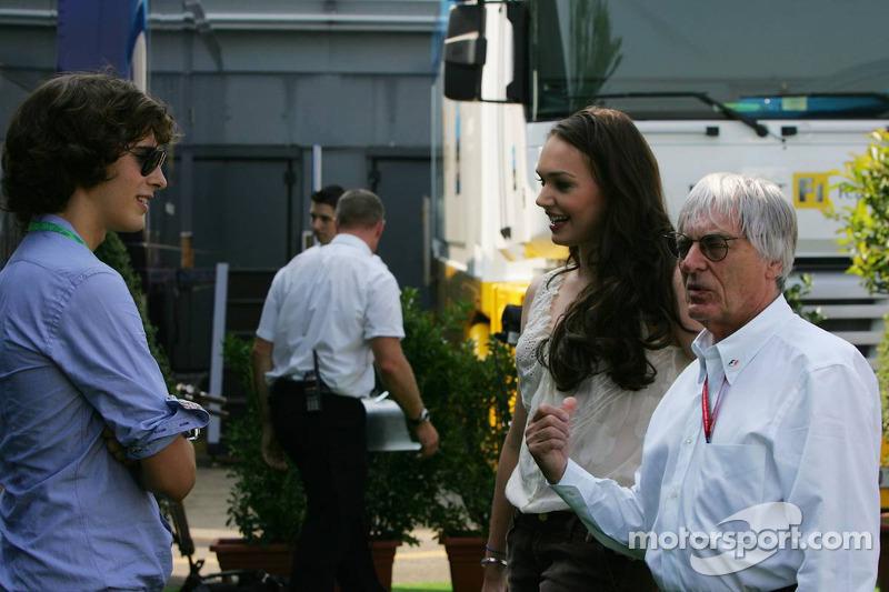 Bernie Ecclestone with Enzo Ferrari and Tamara Ecclestone