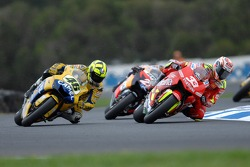 Valentino Rossi and Marco Melandri battle