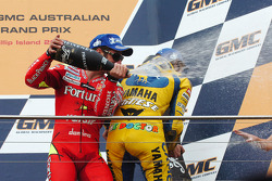 Podium: champagne for Marco Melandri and Valentino Rossi