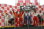 GT2 podium: class winners Emmanuel Collard and Luca Riccitelli, with second place Matteo Bobbi and Jaime Melo, third place Tim Sugden and Iradj Alexander-David, and G2 class winners Bas Leinders and Renaud Kuppens