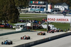 Race stopped: A.J. Allmendinger leads the field on pitlane