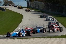 A.J. Allmendinger leads a group of cars