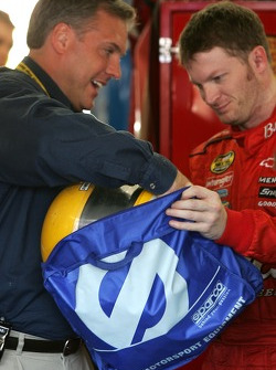 Dale Earnhardt Jr. looks at a new Sparco helmet