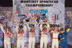 LMP1 podium: class;overall winners Rinaldo Capello;Allan McNish, with second place Frank Biela;Emanuele Pirro,;third place Nicolas Minassian;Harold Primat