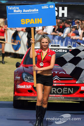 A charming Rally Australia girl at the podium