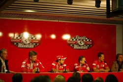 Press conference: Piero Ferrari, Ross Brawn, Felipe Massa, Jean Todt, Michael Schumacher and Luca di Montezemolo