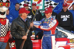 Rick Hendrick and Brian Vickers share a laugh in Victory Lane