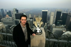 Jimmie Johnson poses for a photo on Top of the Rock Observation Deck at Rockefeller Center