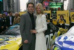 Jimmie Johnson and wife Chandra pose for a photo in Times Square
