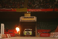 Marcus Gronholm and Timo Rautiainen burt into the Millenium Stadium Arena, Cardiff for the superspecial
