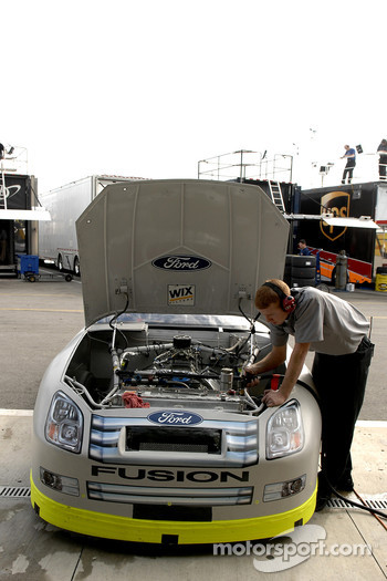 A crew member works on the Ford of Boris Said