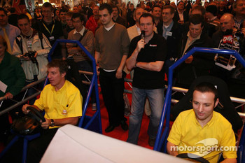 Jason Plato and Darren Turner, BTCC, Seat Leon,  on a racing simulator