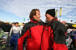 GT pole winner Patrick Huisman celebrates with teammate Steve Johnson