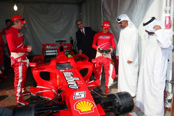 Sheikh Mohammed bin Zayed al Nahayan with Felipe Massa and Kimi Raikkonen