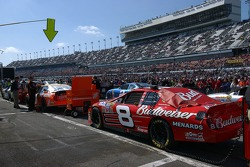 Cars of Dale Earnhardt Jr. and Tony Stewart before the race