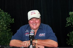 A.J. Foyt Jr. shares a laugh with the media