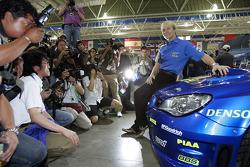 Subaru Impreza WRC2007 launch: Petter Solberg with the new Impreza WRC2007