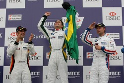 Winner, Augusto Farfus, BMW Team Germany, BMW 320si WTCC, 2nd, Andy Priaulx, BMW Team UK, BMW 320si WTCC, 3rd, Jorg Muller, BMW Team Germany, BMW 320si WTCC