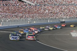 Jimmie Johnson leads the field on a restart