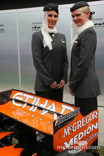 Etihad Airways, Stewardesses, Spyker F1 Team Announce Title sponsor, Etihad Airways