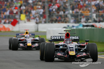 Scott Speed, Scuderia Toro Rosso, STR02 and David Coulthard, Red Bull Racing, RB3
