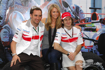 Franck Montagny, Test Driver, Toyota F1 Team, Jennifer Hawkins, Former Miss Universe and Jarno Trulli, Toyota Racing