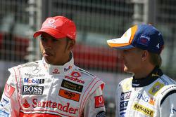 Lewis Hamilton, McLaren Mercedes and Heikki Kovalainen, Renault F1 Team