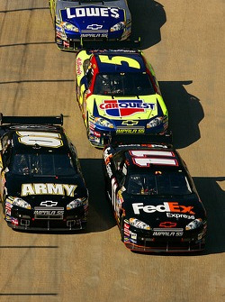 Denny Hamlin, Regan Smith and Kyle Busch