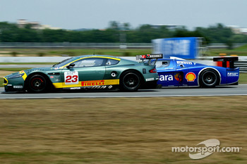 #23 Aston Martin Racing BMS Aston Martin DBR9: Fabio Babini, Jamie Davies, #11 Scuderia Playteam Sarafree Maserati MC 12 GT1: Andrea Bertolini, Andrea Piccini