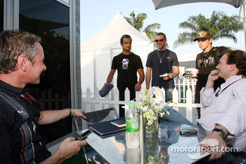 team manager Jonathan Wheatley, Vitantonio Liuzzi, Scott Speed, his brother Alex and sporting director Christian Horner